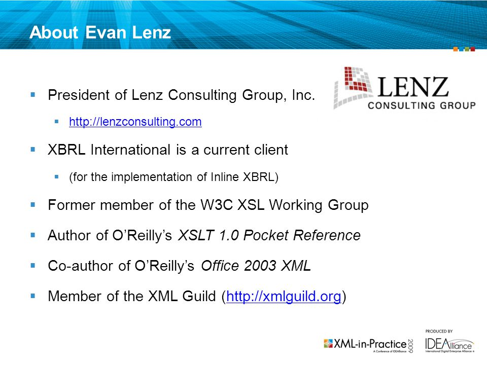 About Evan Lenz President of Lenz Consulting Group, Inc.