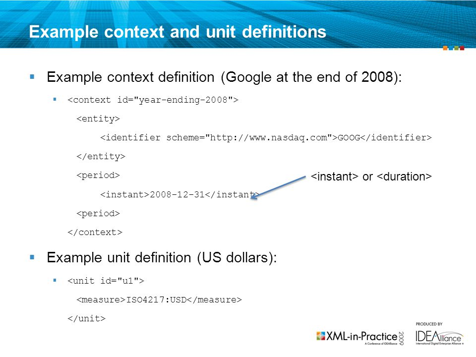 Example context and unit definitions