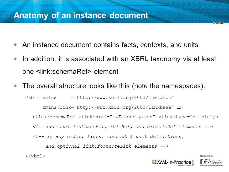 Anatomy of an instance document
