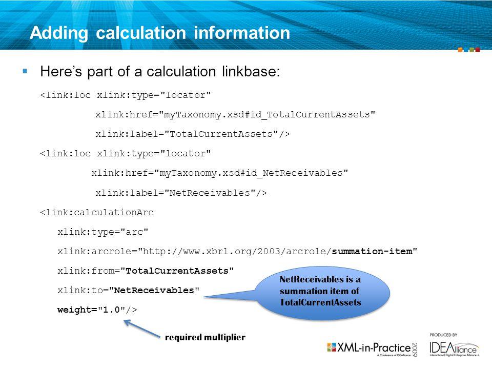 Adding calculation information
