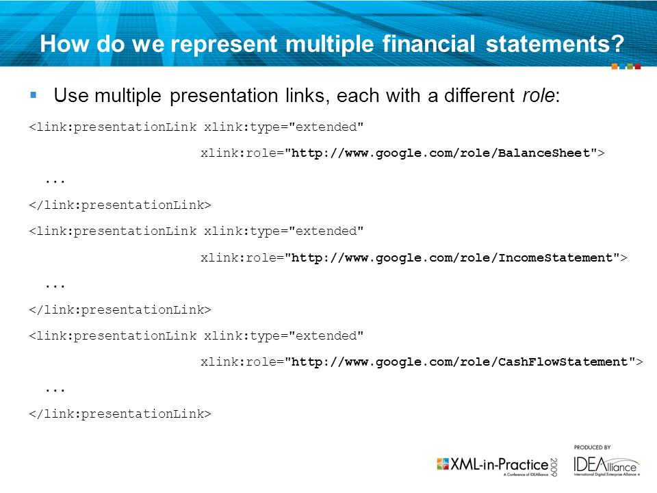 How do we represent multiple financial statements