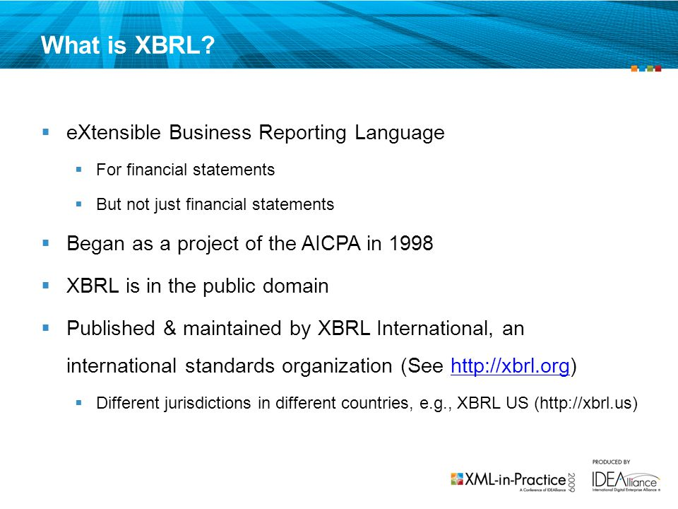 What is XBRL eXtensible Business Reporting Language