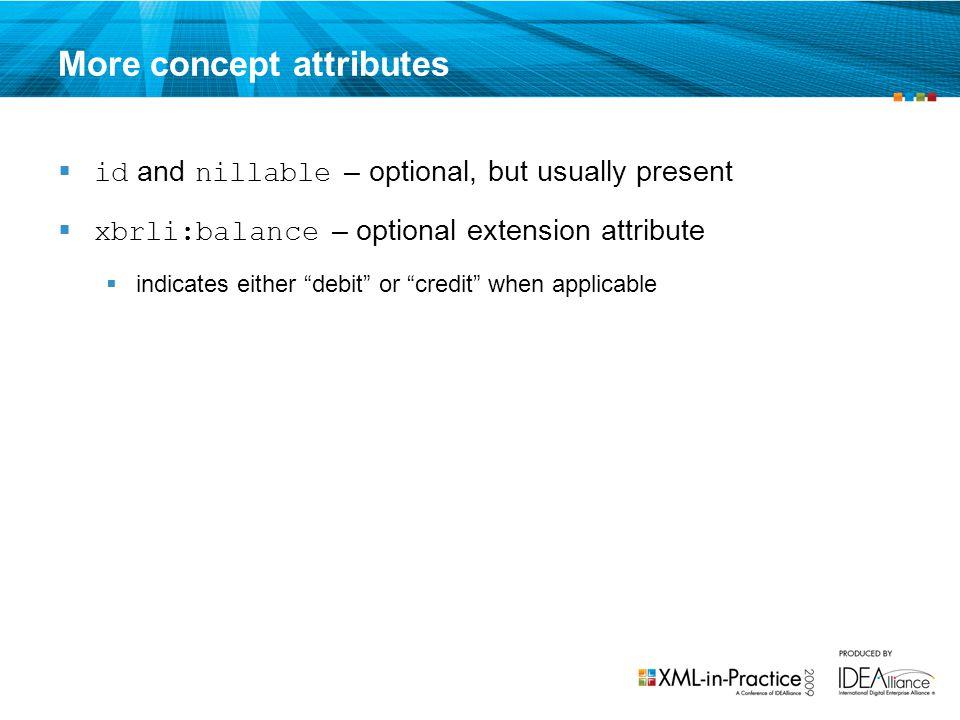 More concept attributes