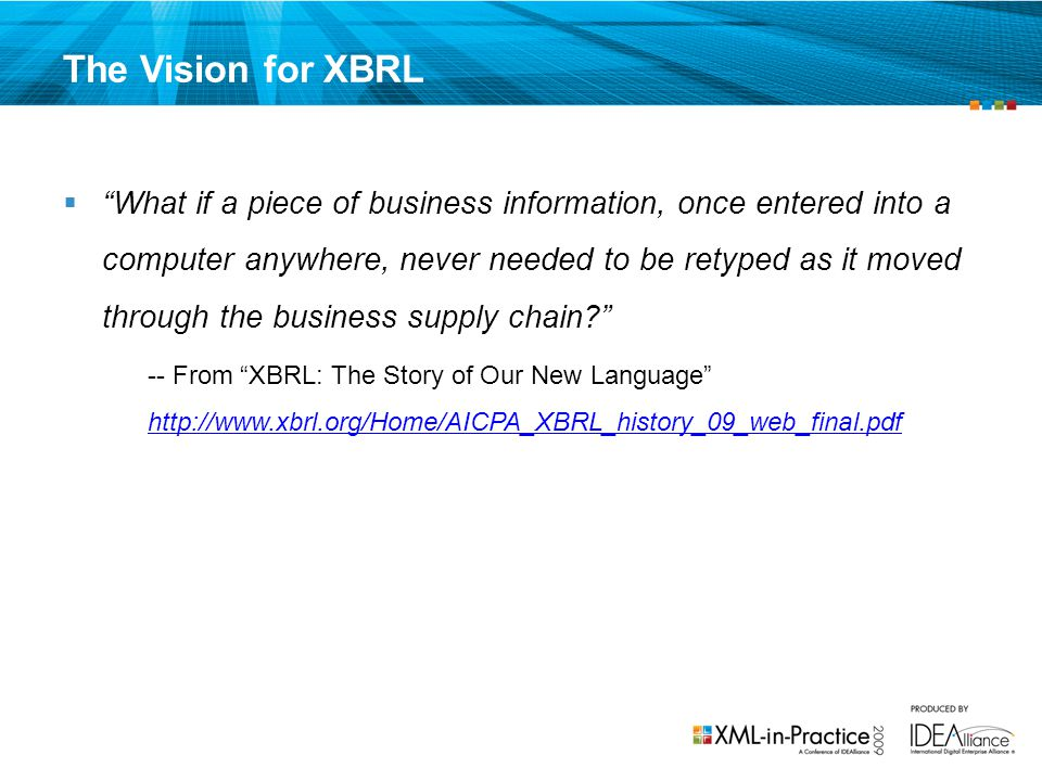 The Vision for XBRL