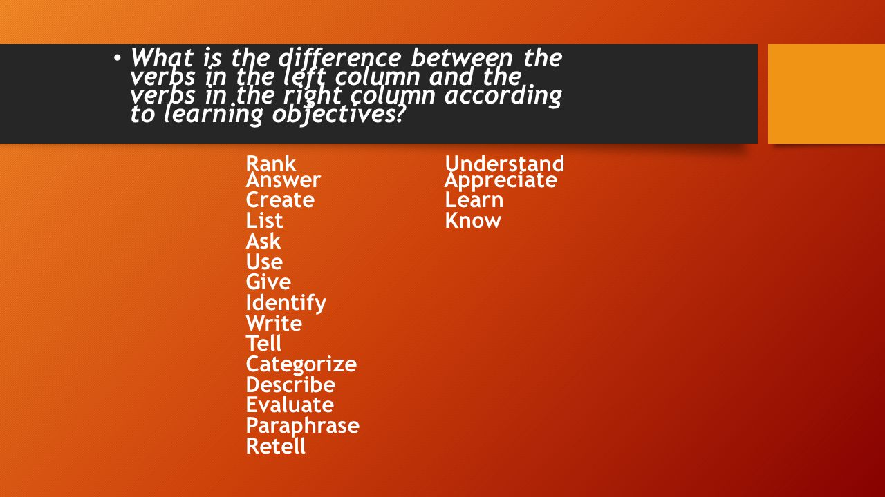 What is the difference between the verbs in the left column and the verbs in the right column according to learning objectives