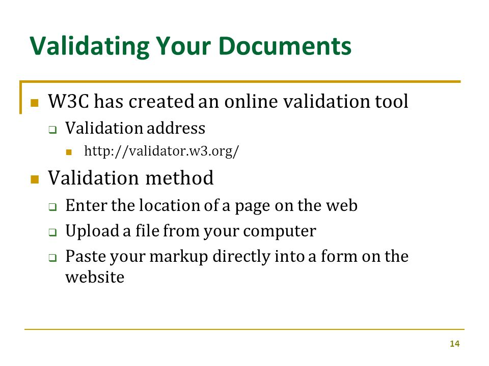 Validating Your Documents