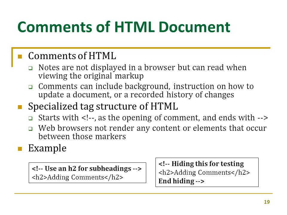 Comments of HTML Document