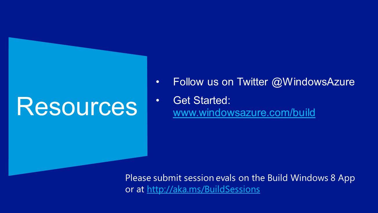Resources Follow us on Twitter @WindowsAzure