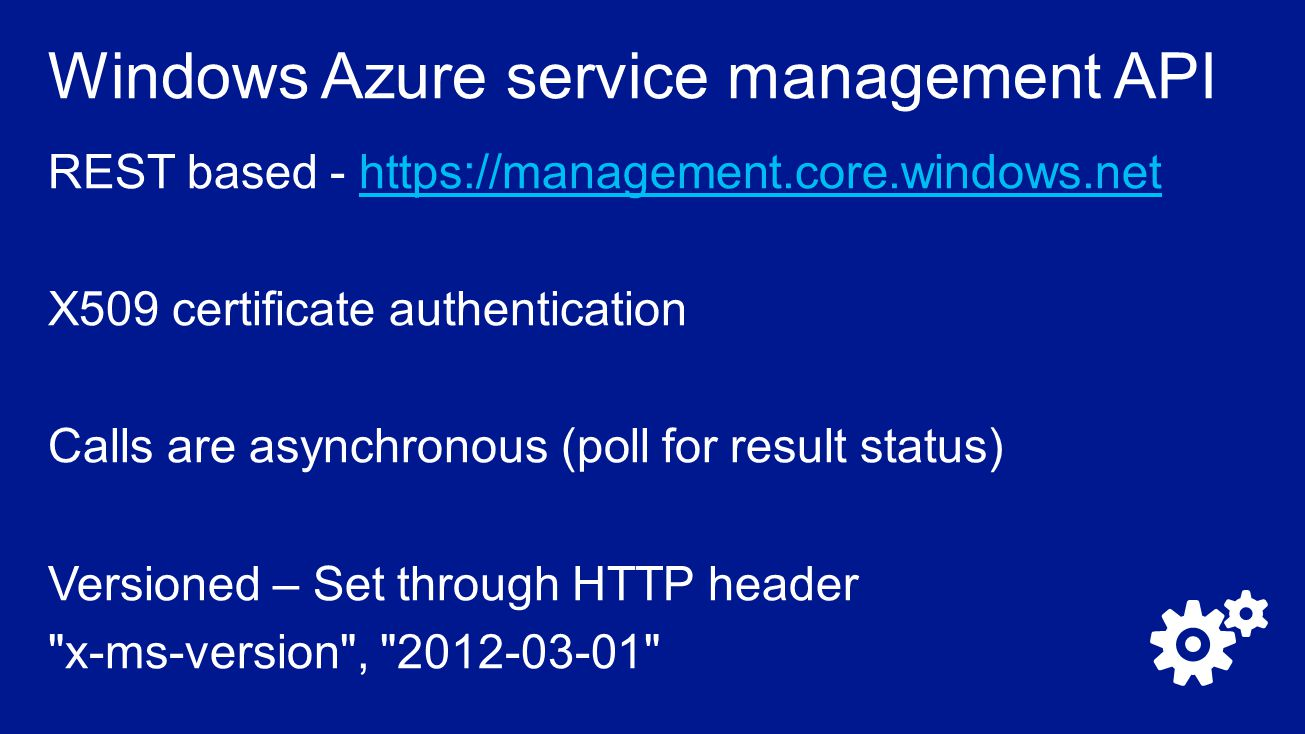 Windows Azure service management API