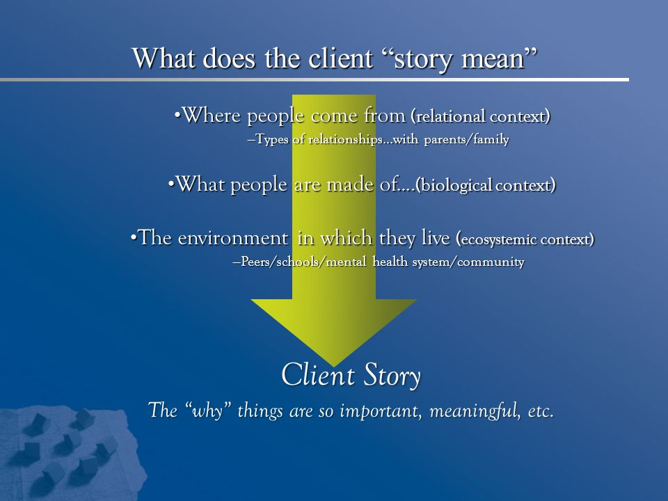 What does the client story mean