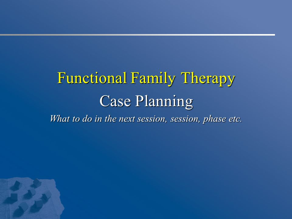 Functional Family Therapy Case Planning