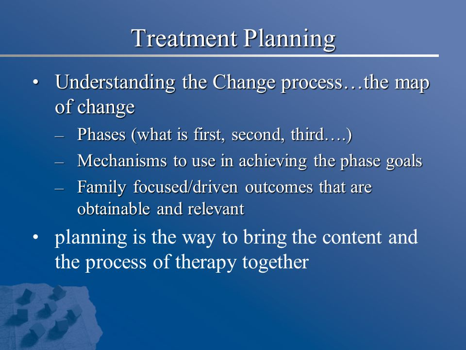 Treatment Planning Understanding the Change process…the map of change