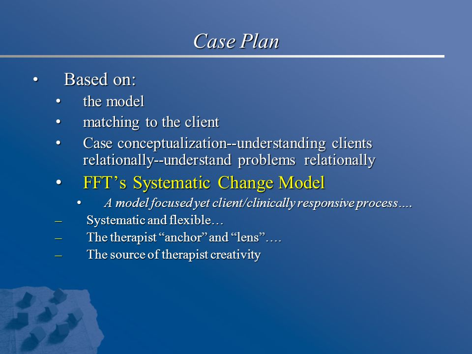 Case Plan Based on: FFT's Systematic Change Model the model