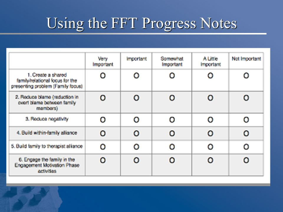 Using the FFT Progress Notes