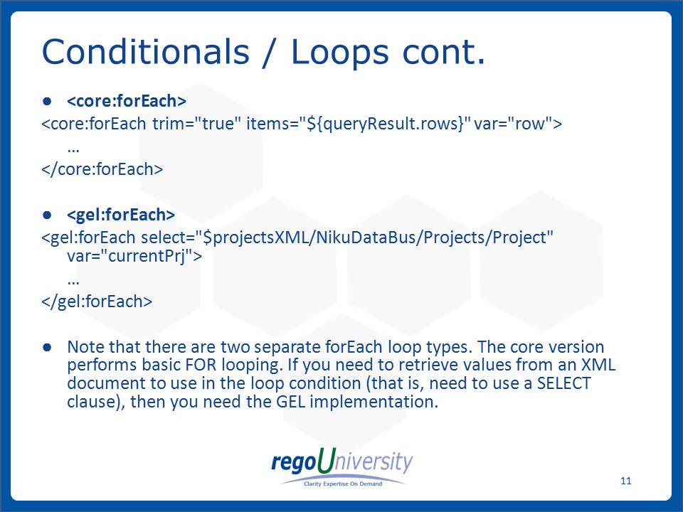 Conditionals / Loops cont.