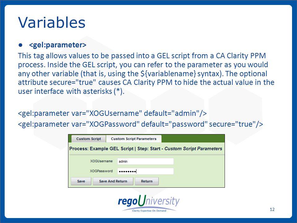 Variables <gel:parameter>