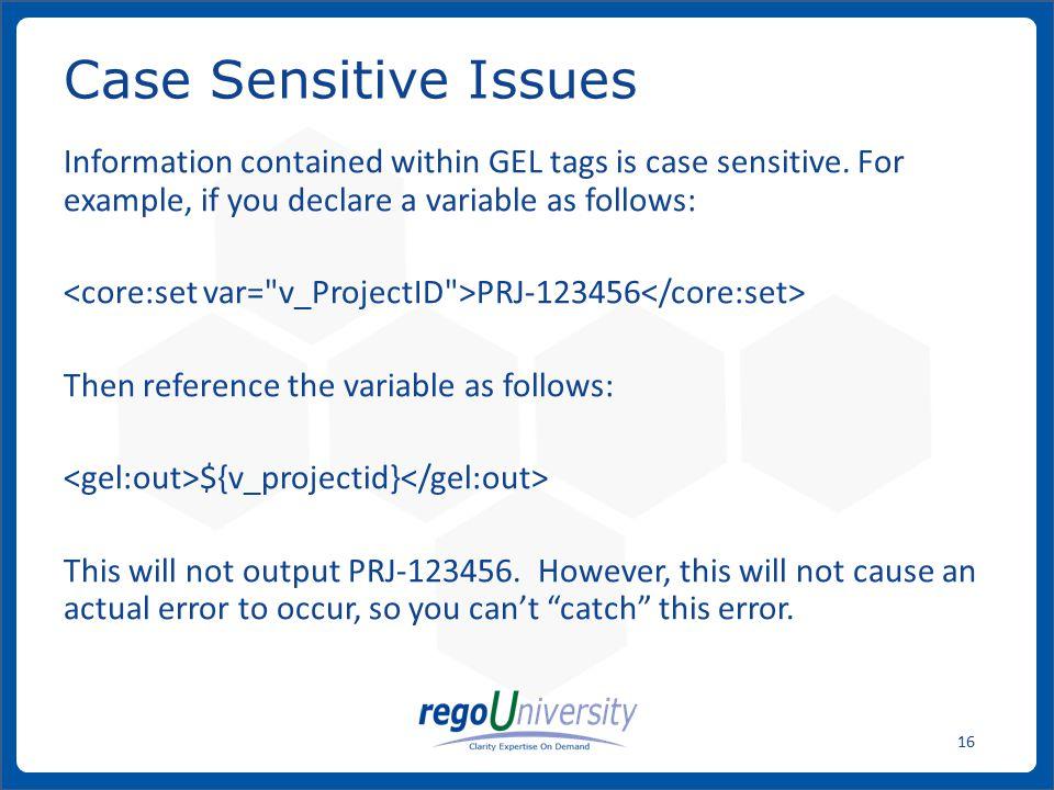 Case Sensitive Issues