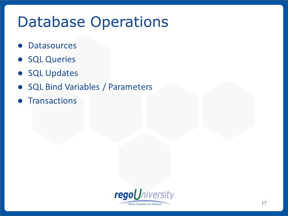 Database Operations Datasources SQL Queries SQL Updates