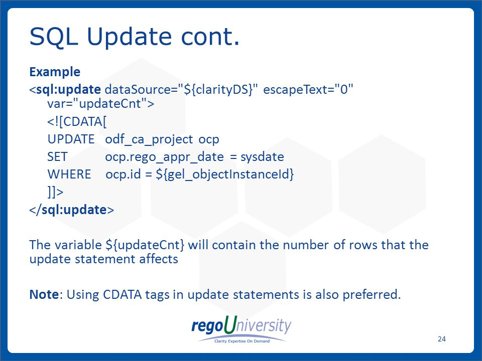SQL Update cont. Example