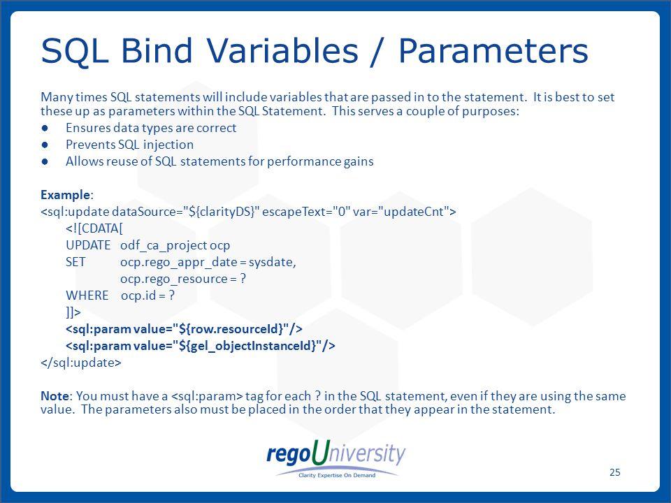 SQL Bind Variables / Parameters
