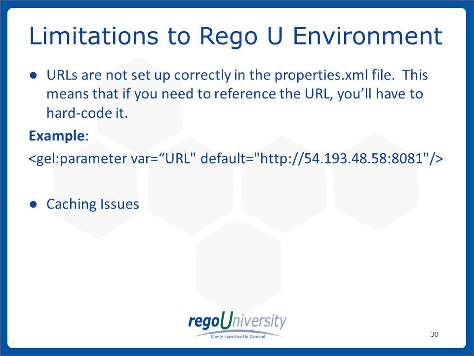 Limitations to Rego U Environment