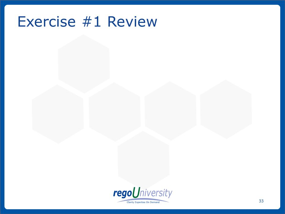 Exercise #1 Review