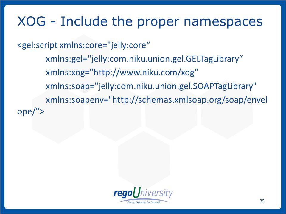 XOG - Include the proper namespaces