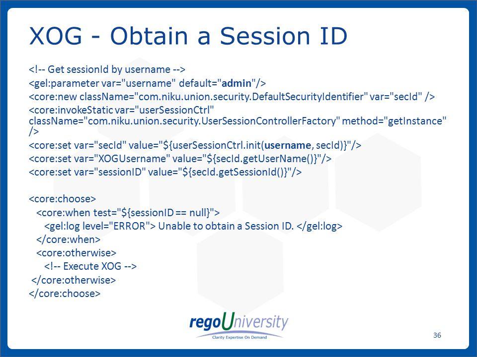 XOG - Obtain a Session ID
