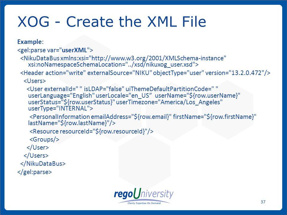 XOG - Create the XML File