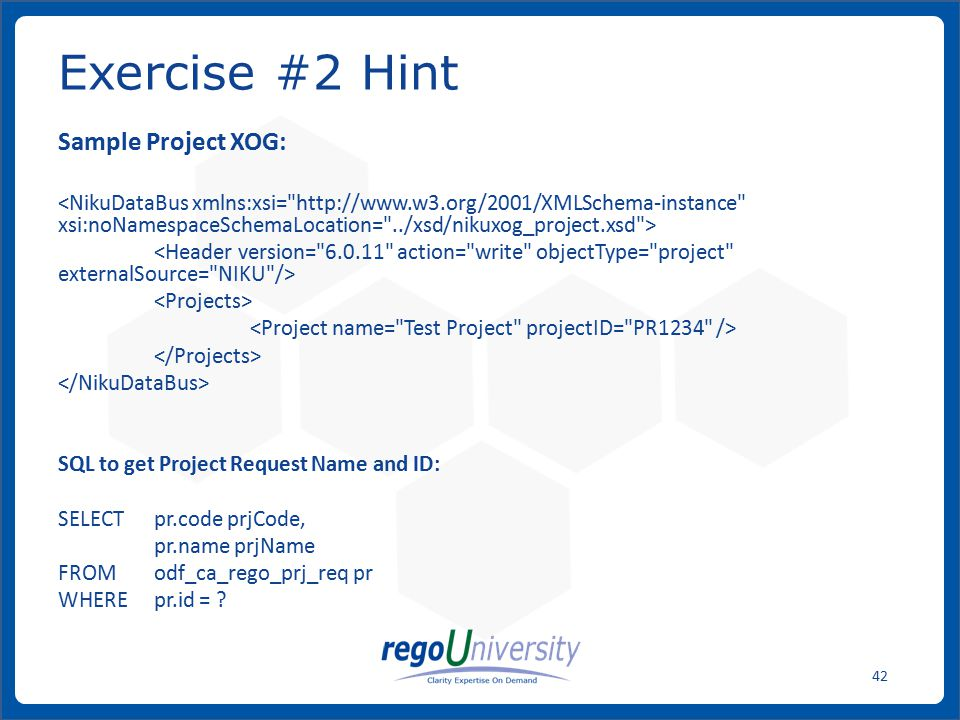 Exercise #2 Hint Sample Project XOG: