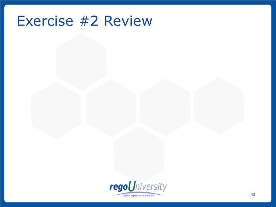 Exercise #2 Review