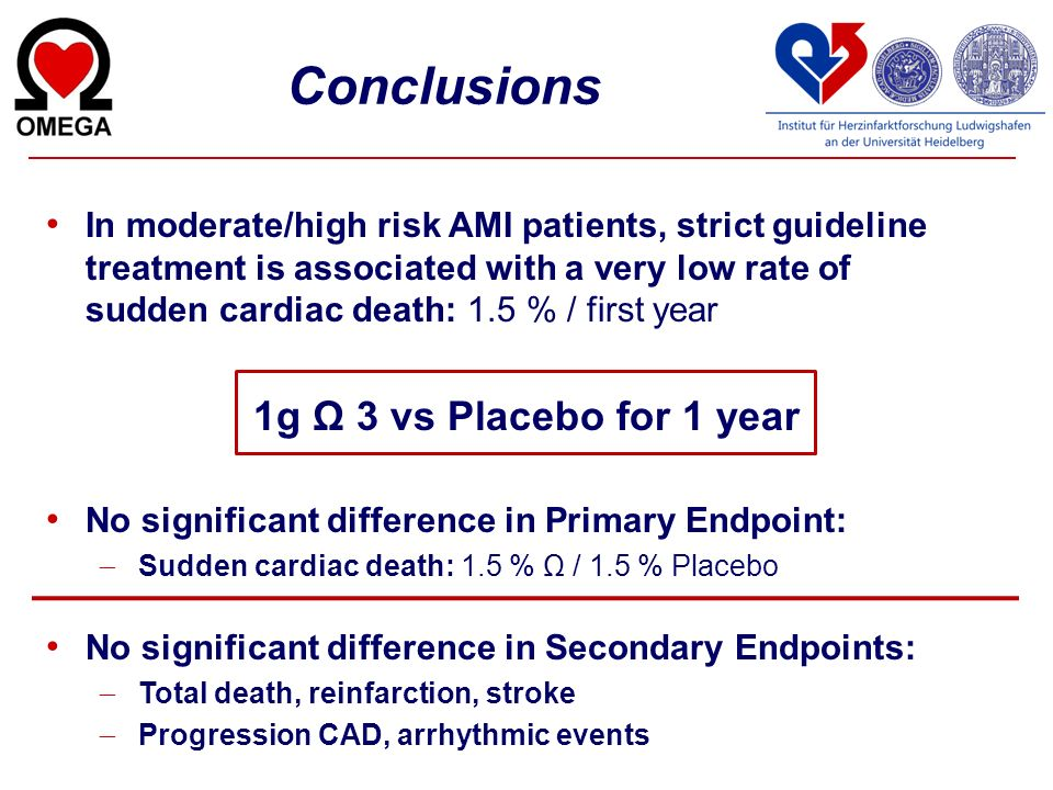 Conclusions 1g Ω 3 vs Placebo for 1 year