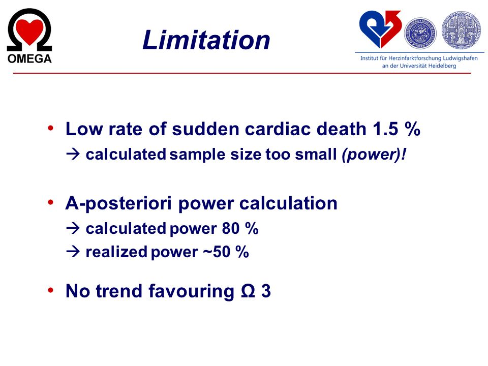 Limitation Low rate of sudden cardiac death 1.5 %