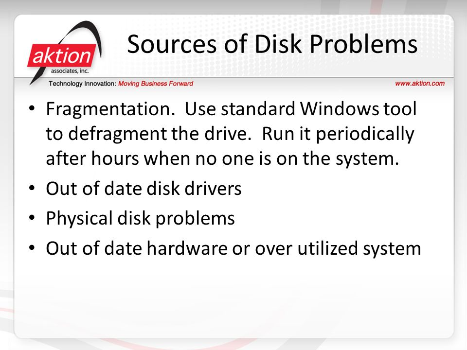 Sources of Disk Problems