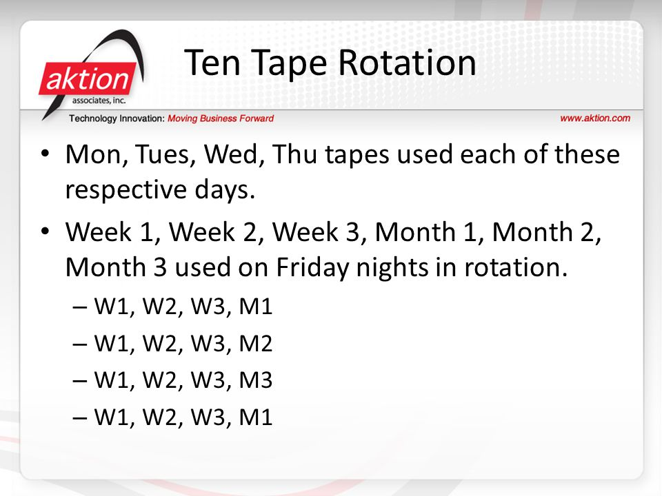 Ten Tape Rotation Mon, Tues, Wed, Thu tapes used each of these respective days.