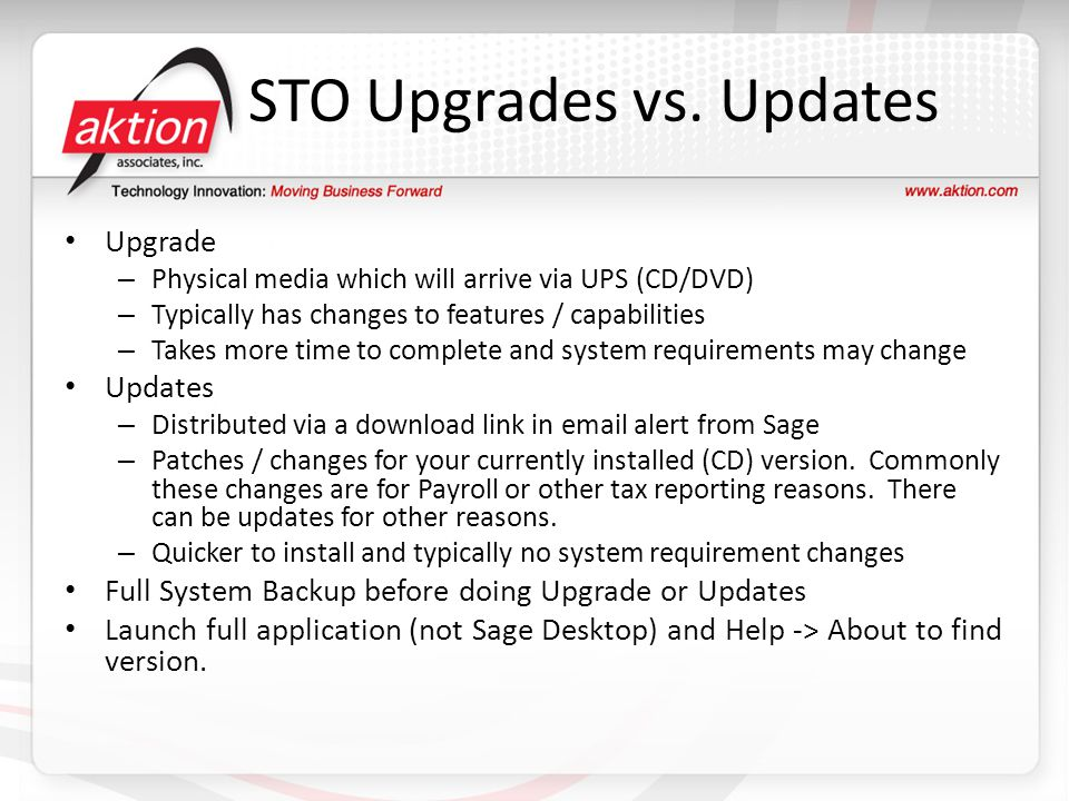 STO Upgrades vs. Updates