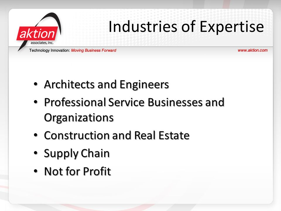 Industries of Expertise