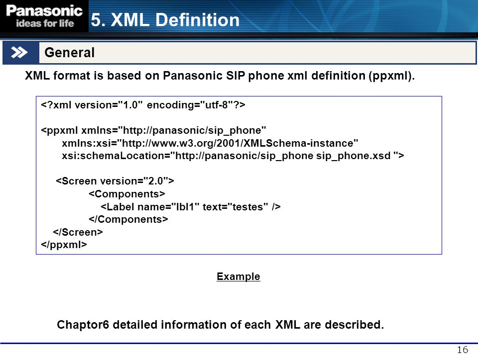 Chapter 6 Detailed explanation of each XML commands