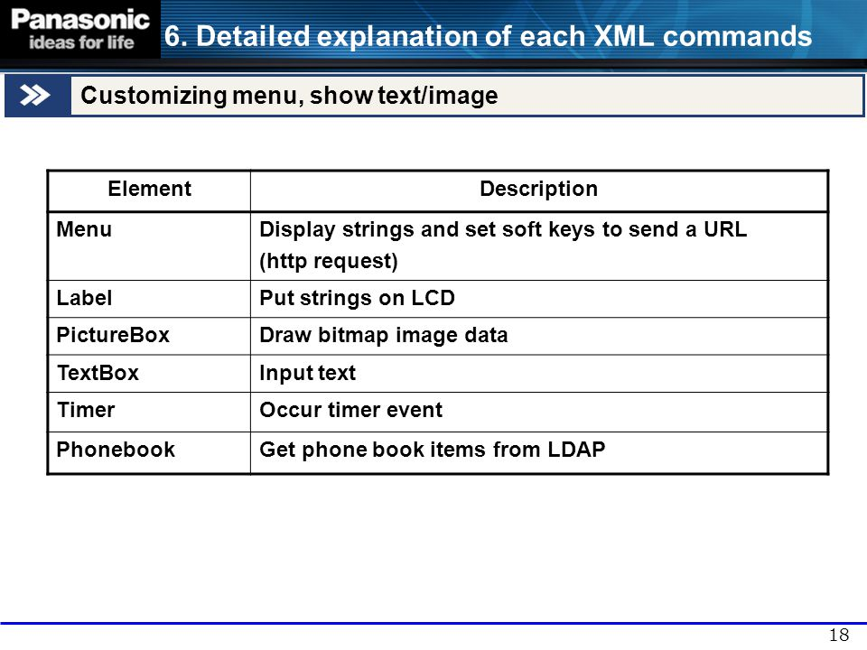 6. Detailed explanation of each XML commands