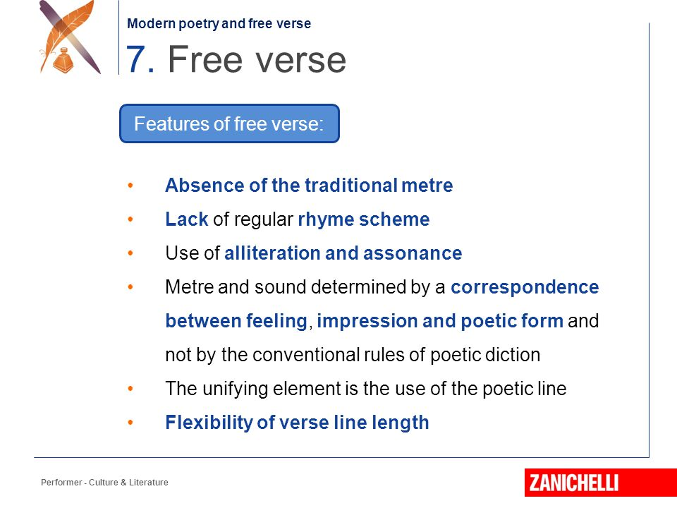 Features of free verse: