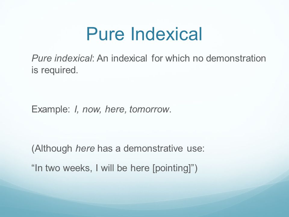 Pure Indexical