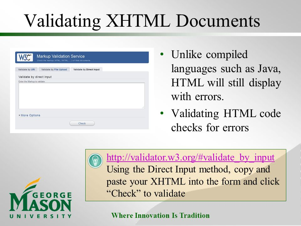 Validating XHTML Documents