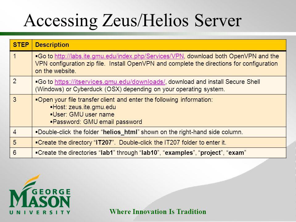 Accessing Zeus/Helios Server