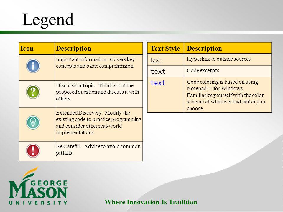 Legend Icon Description Text Style Description text