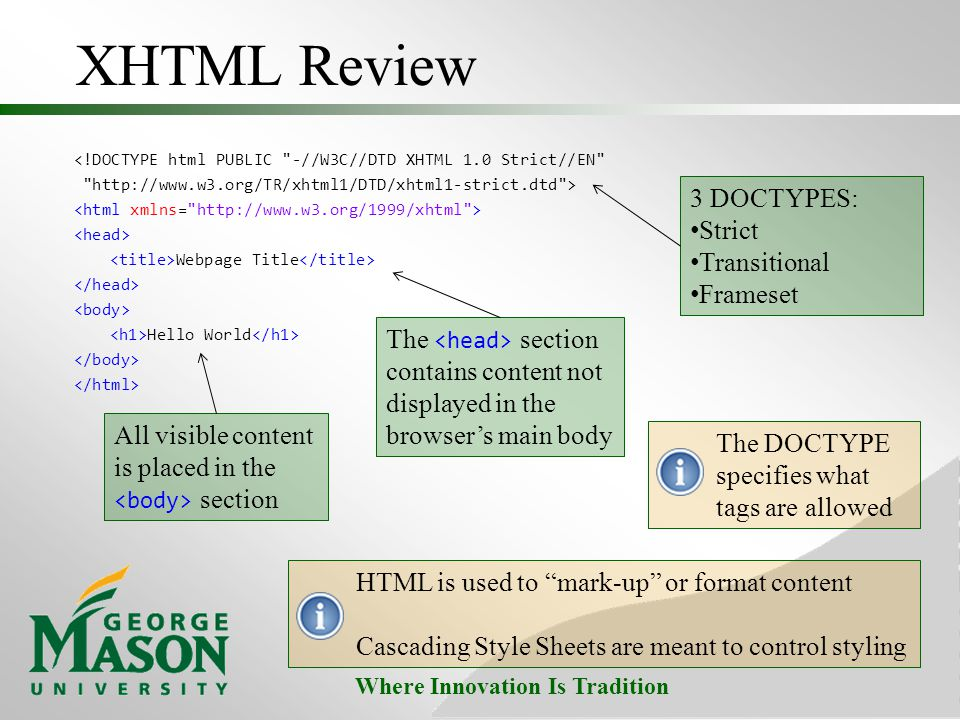 XHTML Review 3 DOCTYPES: Strict Transitional Frameset