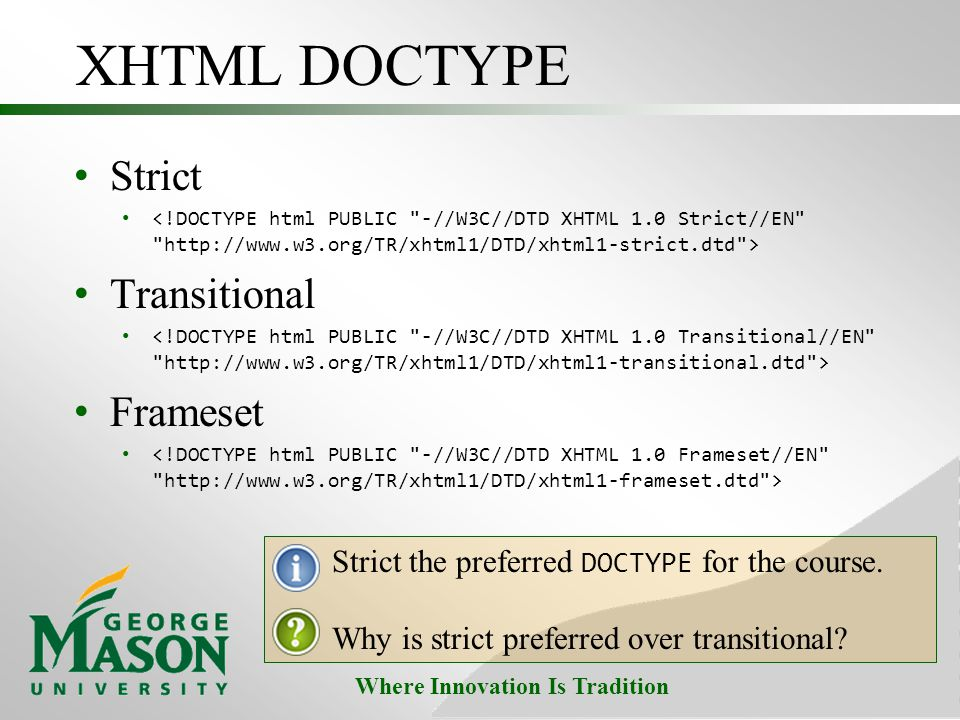 XHTML DOCTYPE Strict Transitional Frameset