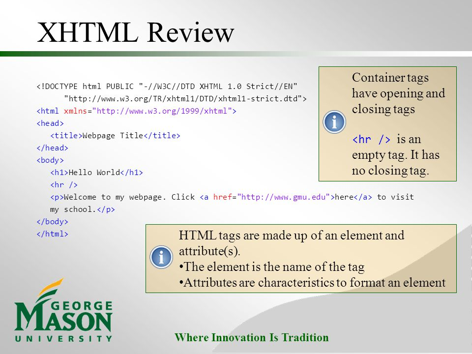 XHTML Review Container tags have opening and closing tags