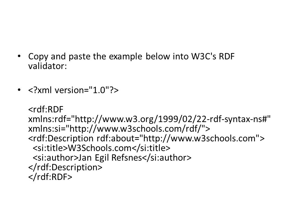 Copy and paste the example below into W3C s RDF validator: