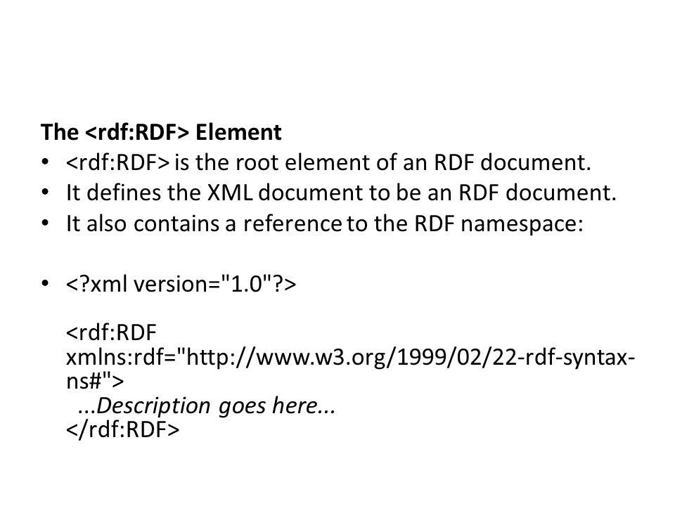 The <rdf:RDF> Element