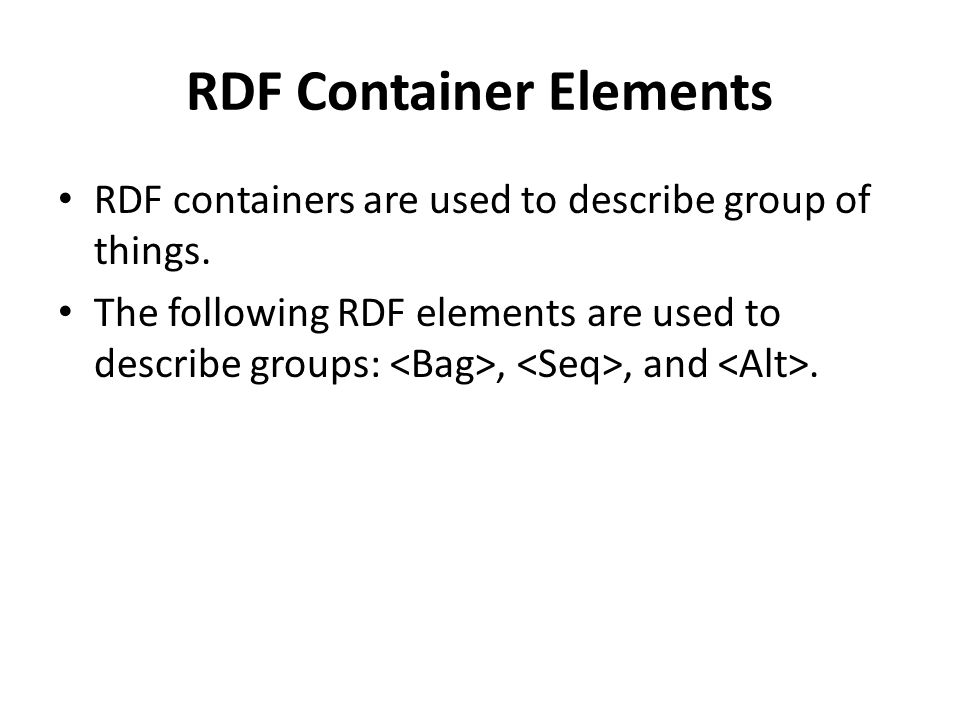RDF Container Elements